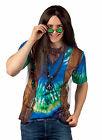 MENS 1960s HIPPIE COSTUME DELUXE FANCY DRESS 3D T-SHIRT JACKET 60s OUTFIT M L XL