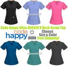 Code Happy Bliss V Neck Scrub Top Style 46607A Choose Size &Color Free Shipping!