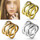 Double X Stainless Steel Ring in Silver, Yellow Gold or Rose Gold, U.S. Shipping