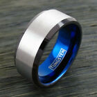 10mm Blue Tungsten Ring Silver Wide Band Black Edges Men's Engraving Available