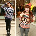 Women Long Sleeve Loose Knitted Striped Christmas Deer Pullover Outwear Sweater
