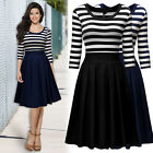 Women Vintage 1950s Evening Party Formal Business Contrast Striped Pleated Dress