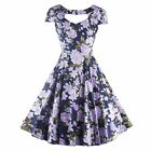 Women Swing Party 50'S 60'S Floral Printed Vintage Housewife Short Sleeve Dress