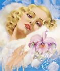 Glamour Lady Orchid & Pearls Quilt Block Multi Sizes FrEE ShiPPinG WoRld WiDE