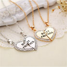 Fine Fashion Splice Heart Pendant Best Friend Letter Necklace Women's Jewelry