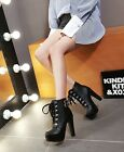 Womens Ankle Booties Lace Up Punk Lace Up Platfrom High Block Heel Shoes