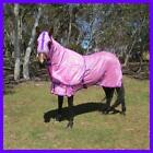 LOVE MY HORSE 5'3 - 6'6 270gsm Soft Mesh Summer Rug Hood Set - Pink No Insects