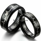 Tungsten Carbide Love Heartbeat Laser Comfort Fit Ring Women Men Wedding Band image