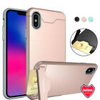 For iPhone X 6 6S 7 8 Plus Hybrid Shockproof Card Holder Kickstand Case Cover