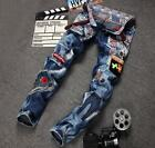 Micro-chapter men's jeans Slim Straight Pants patch punk pants large size