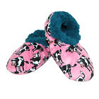 New Lazy One Women's Moooody In The Morning Cow Print Fuzzy Feet Slippers
