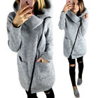 Women Casual Hooded Jacket Coat Long Zipper Sweatshirt Winter Warm Outwear Tops