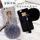 Warm Fluffy Rabbit Fur Plush Ball Tassel Fuffy Case Cover for iPhone 6/6S/7 Plus