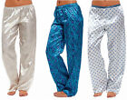Ladies Pyjamas Satin Bottoms Pants Retro Boho Silk-Feel Full Length PJs Trousers