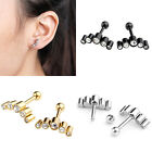 Pair Fashion 16G CZ Crescent Stainless Steel Ear Tragus Cartilage Studs Earrings