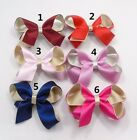 Polyester Satin ribbon 2 layers Silver Glitter hair bows Christmas 2 fork clips