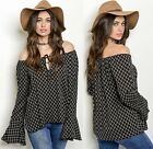 SML Women's Tie Front Flowy Long Bell Sleeves Off the Shoulder Bishop Top Blouse