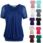 Women Lady Short Sleeve Scoop Neck Pleated Stretchy Fashion shirt Blouse Tops