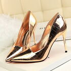 Metallic Stiletto Pointy Shiny Check Pattern Pumps High heels Work Party Shoes
