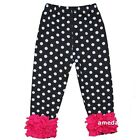 Girls Black Polka Dots Hot Pink Ruffle Icing Leggings Pants