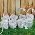 White Satin Basket for Bridal Flower Girl Wedding Party Favors Decorations Gift