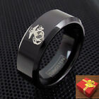 Black Tungsten Men's Ring US Marine Corps Logo Engraving Available
