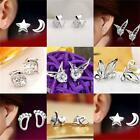 Girls Women Cute Crystal Tiny 925 Sterling Silver Plated Star Moon Stud Earrings