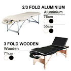 Professional 3 Folds aluminium / Wooden Massage portable Table Black and Cream