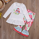 New Newborn Toddler Kids Baby Girls Outfits Clothes T-shirt Tops+Pants 2PCS Set