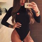 Women Ladies 2017 Sexy Celeb Red Lips Long Sleeve Bodycon Party Club Romper