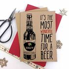 6/10 Luxury kraft christmas cards WONDERFUL TIME FOR A BEER & envelopes