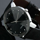 Men's Stainless Steel Quartz Military Sport Leather Band Dial Wrist Watch 1pc