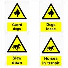 Guard Dogs, Loose Dogs, Slow down Horses, Horses in transit, stickers and signs