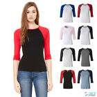 Bella Women's Raglan 3/4 Sleeve Slim Fit Ladies T-Shirt Base