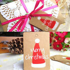 50PCs XMAS Gift Cards Kraft Paper Marker Tags Wedding Party Favor Gift Tags Card