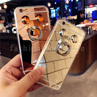3D Cute Chrome Mirror Metal Mickey Ring Holder Stand Case Cover for Cell Phones