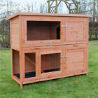 4FT LARGE RABBIT HUTCH AND RUN WITH 2 TIERS WOODEN FERRET PET CAGE GUINEA PIG