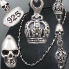 SKULL CROWN CROSS KING 925 STERLING SOLID SILVER MENS NECKLACE CHAIN HJ12