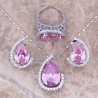 Trendy Pink & White Topaz Silver Jewelry Sets Earrings Pendant Ring S0003