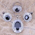 Black Sapphire White Topaz Silver Jewelry Sets Earrings Pendant Ring S0037