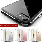 Jet Black Aluminum Metal Gel Clear Case + Tempered Glass For iPhone 6 6s 7 Plus