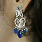 100% NATURAL ! TOP BLUE SAPPHIRE REAL 925 STERLING SILVER EARRINGS
