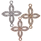 Crystal Rhinestone Open Flower Cross Religious Bracelet Connector Charm Jewelry