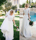 New Scoop Neck Lace Chiffon Garden Wedding Dresses Long Rustic Bridal Ball Gown