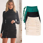 Sexy Autumn Winter Women Lace Up A-Line Mini Skirt Suede Leather Club Dress