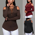 WOMEN Long Sleeve Bandage blouse Shirt Tops Stretch off shoulder bodycon Casual