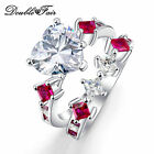 Heart Stone Ring Set red & clear crystal White Gold Plated jewelry for Women