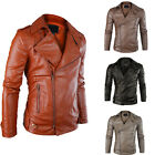 Colors PU Leather Mens Collar Slim Fit Jacket Zipper Motorcycle Short Coat