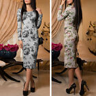 2017 Fashion Women Ladies Rose Floral Knitted Bodycon Winter Party Pencil Dress