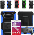 Film LCD+2Layer Case Cover w/Stand+Holster Belt Clip For LG Tribute HD / X Style